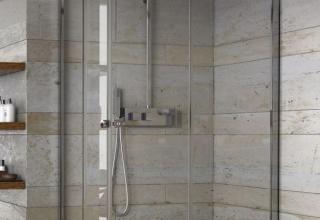 Piatto doccia ardesia box doccia vetro 8mm anticalcare colonna doccia