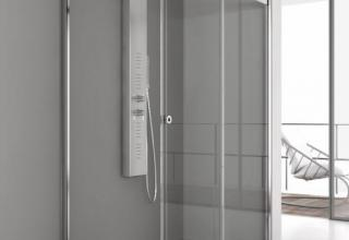 Piatto doccia ardesia box doccia vetro 8mm anticalcare colonna attrezzata