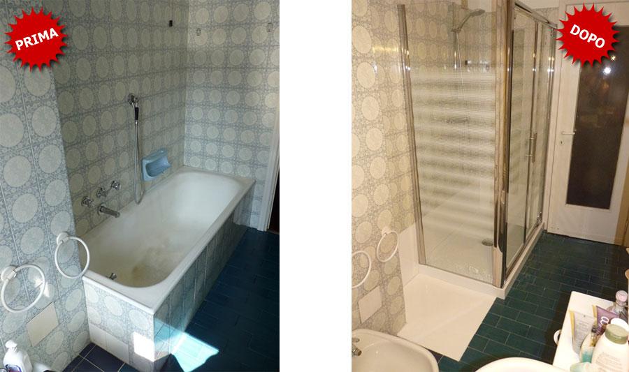 Trasformazione vasca doccia e spazio per la lavatrice